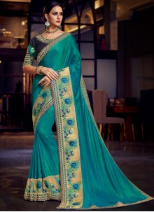 Blue Patch Border Fancy Fabric Traditional Saree