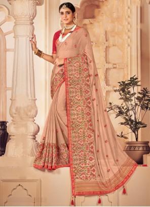 Patch Border Faux Chiffon Classic Designer Saree