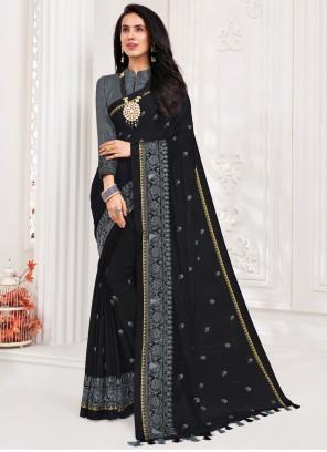 Patch Border Faux Chiffon Classic Designer Saree in Black