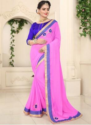 Patch Border Faux Chiffon Pink Classic Saree