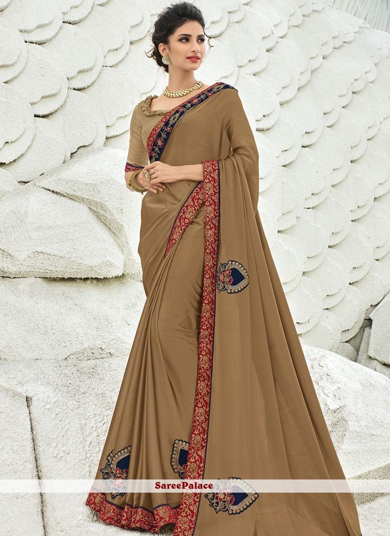 Patch Border Faux Georgette Classic Designer Saree in Brown