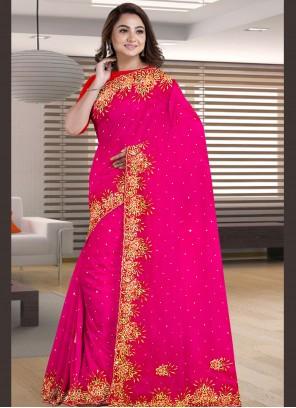 Patch Border Faux Georgette Designer Saree in Rani