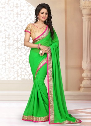 Patch Border Faux Georgette Green Classic Saree