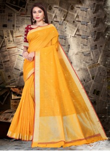 Patch Border Festival Yellow Bollywood Saree