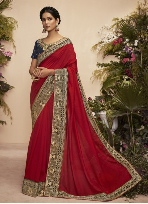 Maroon Patch Border Festival Designer Traditional Saree
