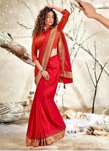 Patch Border Festival Red Designer Traditional Saree