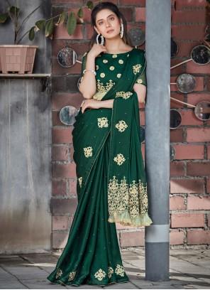 Green Patch Border Georgette Designer Saree
