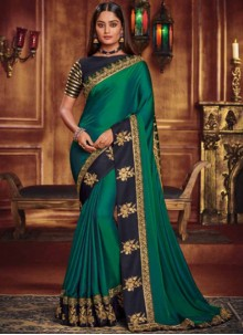 Patch Border Green Fancy Fabric Designer Traditional Saree