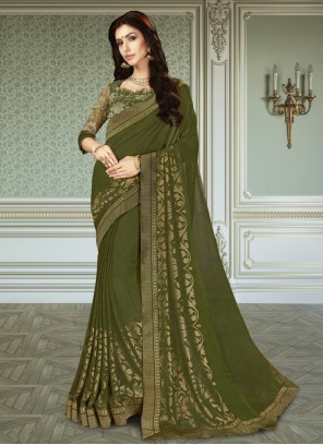 Patch Border Green Faux Georgette Trendy Saree