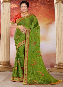 Patch Border Green Rupali Ganguly Designer Saree