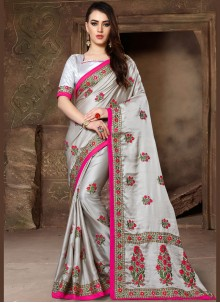 Patch Border Grey Traditional Saree