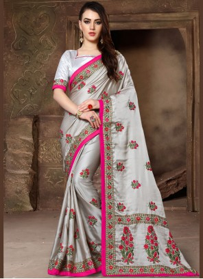 Patch Border Grey Traditional Saree