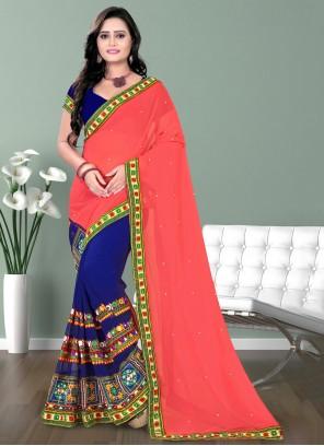 Patch Border Half N Half Designer Saree
