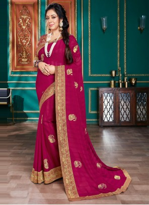 Patch Border Magenta Rupali Ganguly Designer Traditional Saree