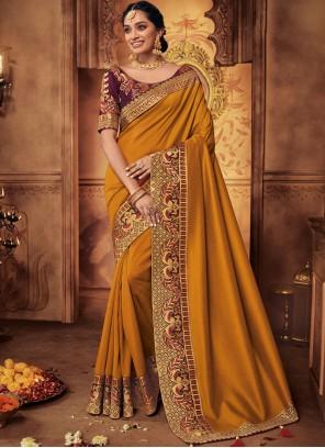 Patch Border Mustard Art Silk Designer Traditional Saree