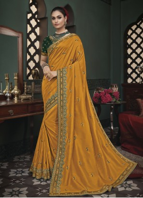 Patch Border Mustard Fancy Fabric Trendy Saree