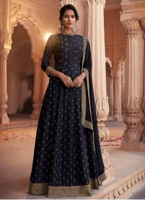 Patch Border Navy Blue Silk Floor Length Anarkali Suit