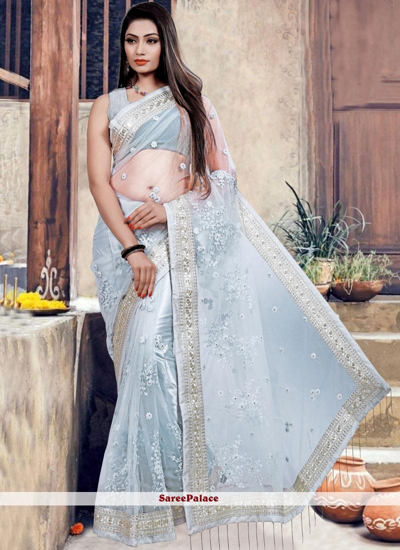 Patch Border Net Classic Designer Saree in Blue