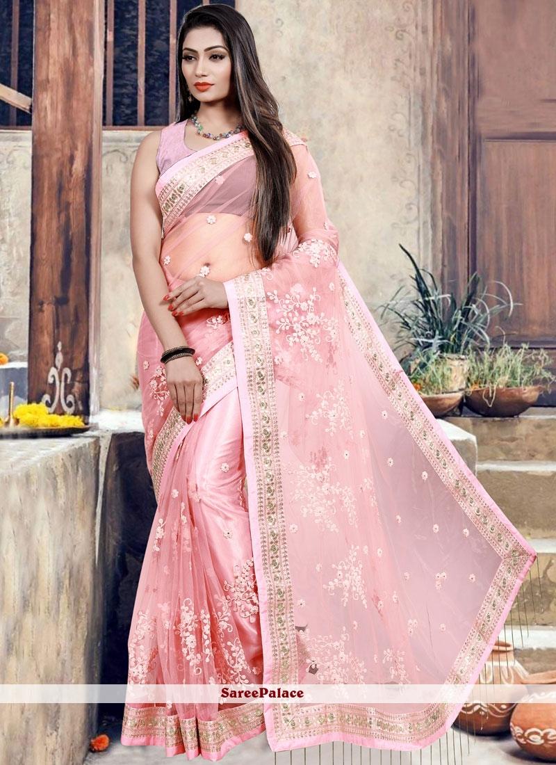 Patch Border Net Pink Classic Saree