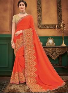 Patch Border Orange Art Silk Traditional Designer Saree