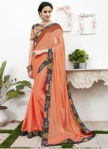 Patch Border Orange Saree