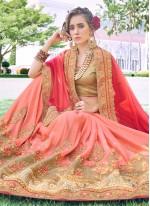 Patch Border Peach and Pink Half N Half Designer Saree