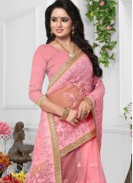 Patch Border Pink Net Classic Designer Saree