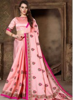 Patch Border Pink Traditional Saree