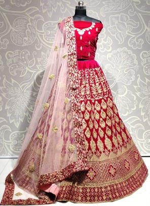 Patch Border Pink Velvet A Line Lehenga Choli