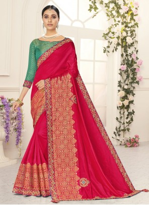Patch Border Poly Silk Designer Red Traditional Saree
