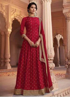 Patch Border Red Silk Floor Length Anarkali Suit