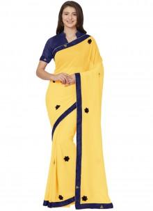 Yellow Chiffon Patch Border Saree