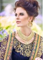Patch Border Satin Silk Blue and Sea Green Designer Half N Half Saree