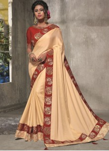 Patch Border Satin Silk Cream Traditional Saree
