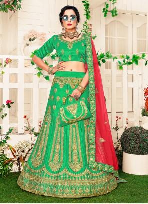 Green Patch Border Satin Silk Lehenga Choli