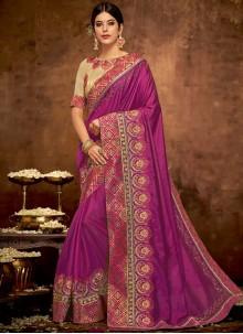 Patch Border Satin Silk Traditional Designer Saree