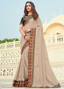 Patch Border Silk Beige Designer Saree
