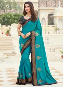 Patch Border Silk Blue Designer Saree