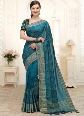 Patch Border Silk Designer Traditional Saree in Morpeach