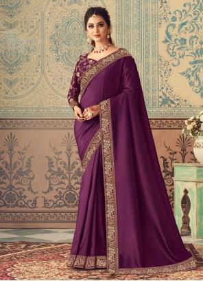 Patch Border Silk Designer Traditional Saree in Purple