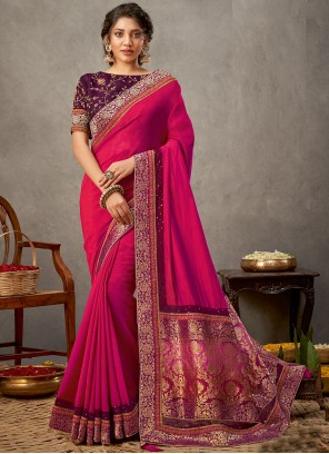 Patch Border Silk Rani Designer Saree