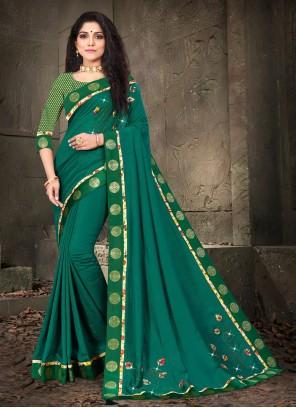 Patch Border Silk Traditional Designer Saree in Green