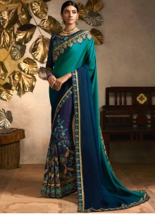 Patch Border Teal Fancy Fabric Classic Saree