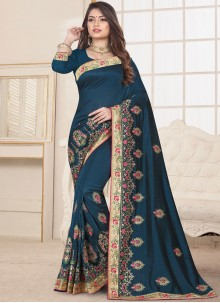 Patch Border Teal Fancy Fabric Designer Traditional Saree