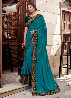 Patch Border Turquoise Georgette Satin Trendy Saree