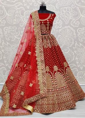 Patch Border Velvet A Line Lehenga Choli in Red