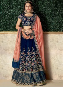 Patch Border Velvet Lehenga Choli in Blue