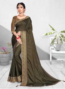 Patch Border Vichitra Silk Green Traditional Saree