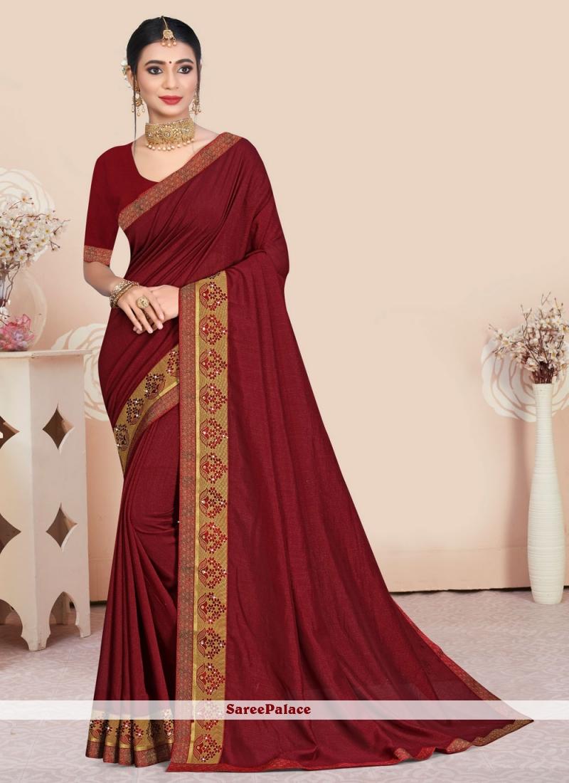 Patch Border Vichitra Silk Traditional Saree in Maroon