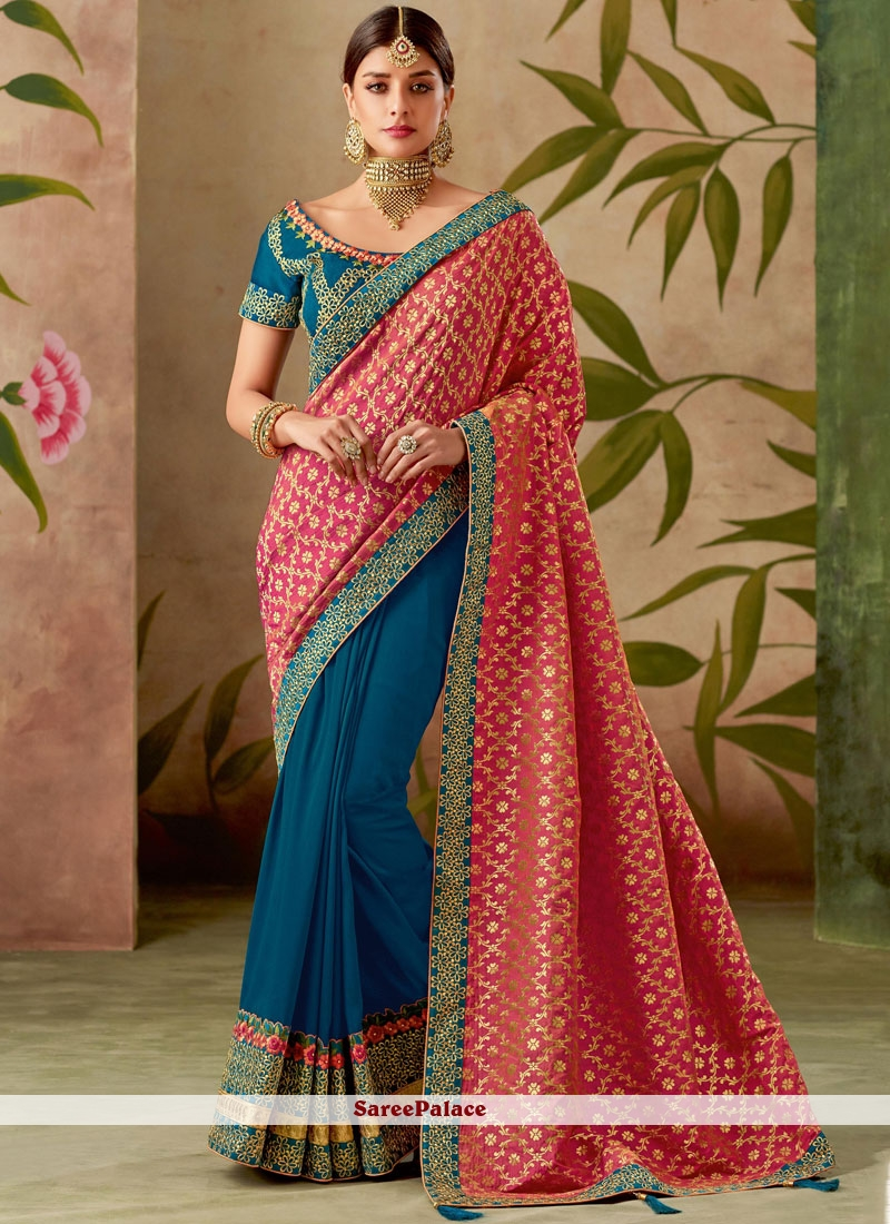 Blue and Hot Pink Patch Border Wedding Designer Half N Half Saree